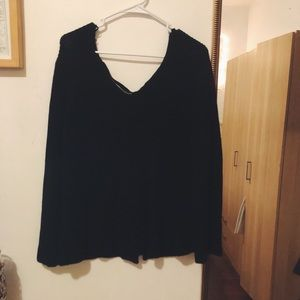 Sweaters - Black Sweater with Lace up back